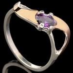 Серебряное кольцо 925 пробы с золотом арт. 574к