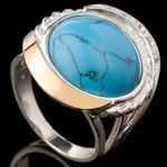 Серебряное кольцо 925 пробы с золотом арт. 577к