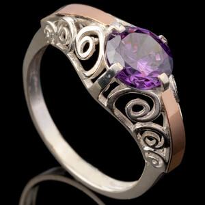 Серебряное кольцо 925 пробы с золотом арт. 580к