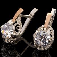 Серебряные серьги 925 пробы с золотом арт. 580с