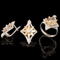 Серебряное кольцо 925 пробы с золотом арт. 582к