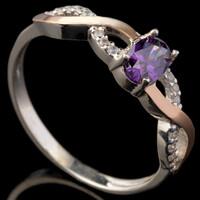 Серебряное кольцо 925 пробы с золотом арт. 604к