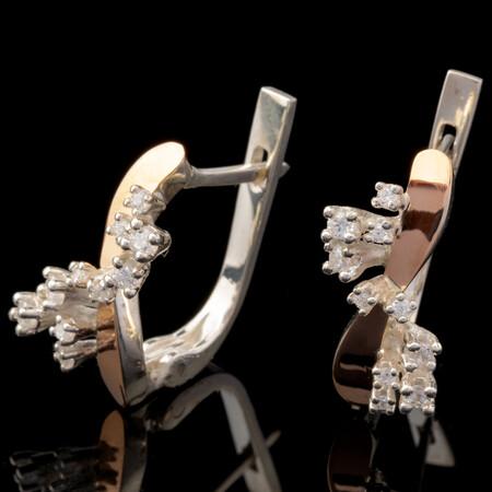 Серебряные серьги 925 пробы с золотыми вставками арт. 612с