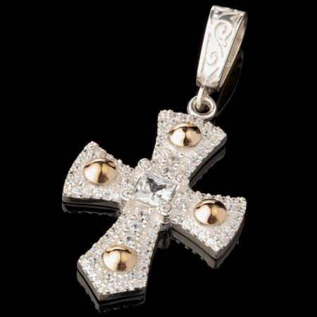 Серебряный Крест 925 пробы с золотыми вставками арт. 614кр