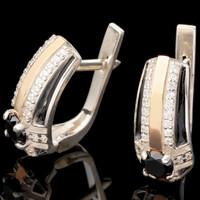 Серебряные серьги 925 пробы с эмалью арт. 618с