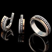 Серебряное кольцо 925 пробы с золотом арт. 620к