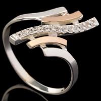 Серебряное кольцо 925 пробы с золотом арт. 623к