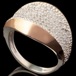 Серебряное кольцо 925 пробы с золотом арт. 625к
