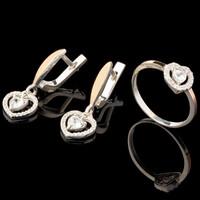 Серебряные серьги 925 пробы с золотыми вставками арт. 626с