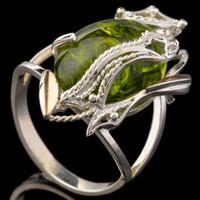 Серебряное кольцо 925 пробы с золотом арт. 628к