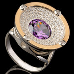 Серебряное кольцо 925 пробы с золотом арт. 639к