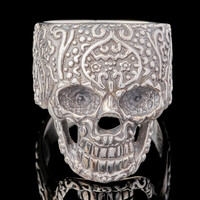 Перстень с черепом мужской из серебра арт. 666к