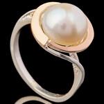 Серебряные кольца с жемчугом и золотом арт. 697к