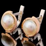 Серебряные серьги с жемчугом и фианитами арт. 697с