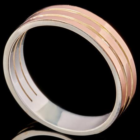 Серебряное обручальное кольцо с золотом арт. 658к