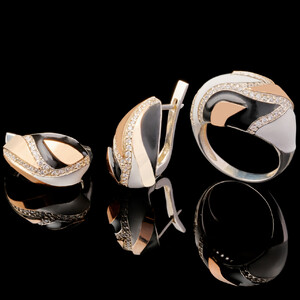 Серебряный набор 925 пробы с эмалью арт. 595г
