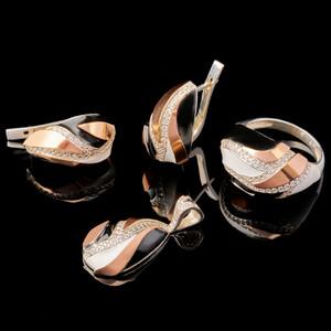 Серебряный набор с золотыми вставками арт. 595/1г