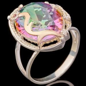Серебряное кольцо 925 пробы с золотом арт. 694к