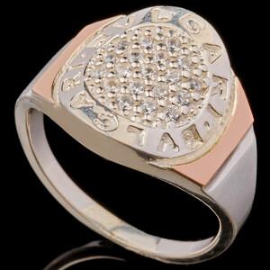 Серебряное кольцо 925 пробы с золотом арт. 554к