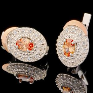 Серебряные серьги 925 пробы с золотом арт. 555с