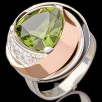 Серебряное кольцо 925 пробы с золотом арт. 609к