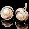 Серебряный набор с жемчугом и золотыми вставками арт. 610г
