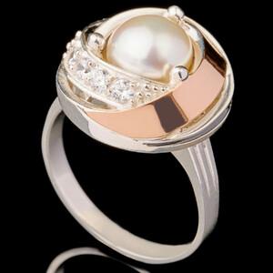 Серебряные кольца с жемчугом и золотом арт. 610к