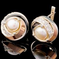Серебряные серьги с жемчугом и фианитами арт. 610с