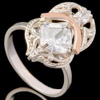 Серебряное кольцо 925 пробы с золотом арт. 671к