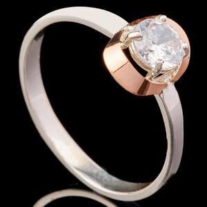 Серебряное кольцо 925 пробы с золотом арт. 683к