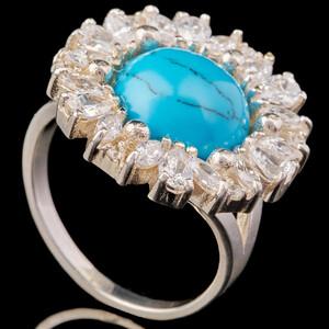 Серебряное кольцо с кабошоном арт. 607к