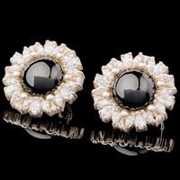 Серебряные серьги с кабошоном арт. 607с