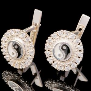 Серебряные серьги 925 пробы с эмалью арт. 646с