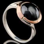 Кольцо серебряное с кабошоном и золотыми вставками арт. 567к