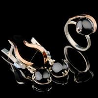 Серебряные серьги 925 пробы с кабошоном и золотом арт. 583с