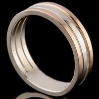 Серебряное обручальное кольцо с золотом арт. 279к