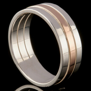 Серебряное обручальное кольцо с золотом арт. 282к