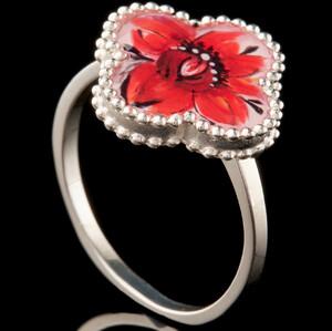 Серебряное кольцо 925 пробы с эмалью арт. 764к