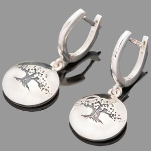 Серебряные сережки Древо жизни 925 пробы  арт. 753с