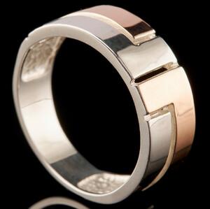 Серебряное кольцо 925 пробы с золотом арт. 744к