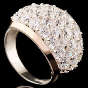 Серебряное кольцо 925 пробы с золотом арт. 596к