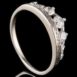 Серебряное кольцо Корона с фианитами арт. 741к