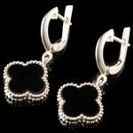 Серебряные сережки с черным камнем арт. 780с