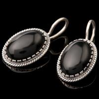 Серебряные сережки с черным камнем арт. 736с