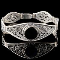 Срібний браслет з чорним оніксом арт. 669б