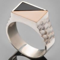 Серебряное кольцо мужское с золотом арт. 403к