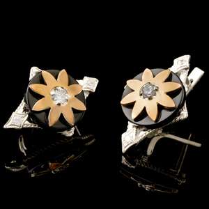 Серьги серебряные 925 пробы с золотыми вставками арт. 515с