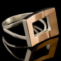 Серебряное кольцо 925 пробы с золотом арт. 504к