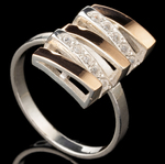 Серебряное кольцо 925 пробы с золотом арт. 557к