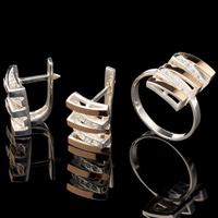 Серебряные серьги 925 пробы с золотом арт. 557с